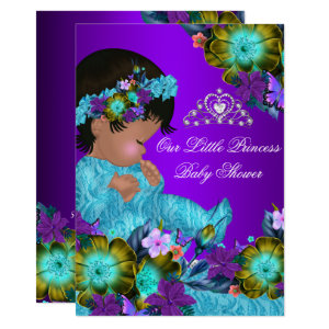 Teal Purple Princess Baby Shower Invitations