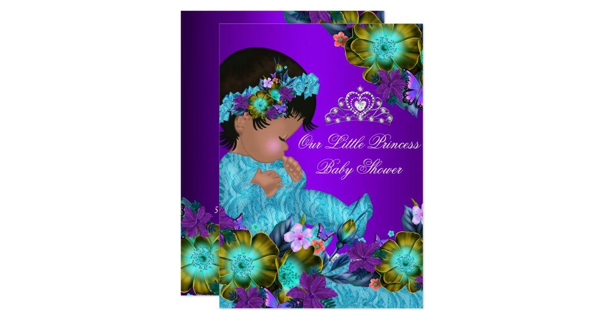 princess baby shower teal blue purple girl invite zazzle