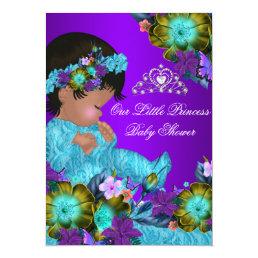 Princess Baby Shower Teal Blue Purple Girl Invite