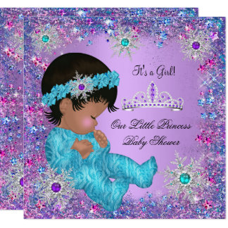 Princess Baby Shower Teal Blue Purple Pink Ethnic Card