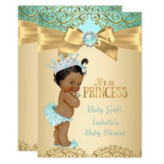 Princess Baby Shower Teal Gold Damask Ethnic Card