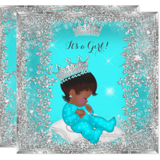 Princess Baby Shower Teal Silver African American Card