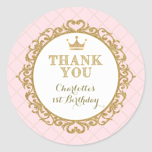 Princess Baby Thank You Sticker Birthday Favors