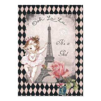 Princess Ballerina Eiffel Tower Baby Shower 5x7 Paper Invitation Card
