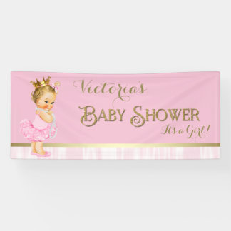 Princess Ballerina Pearl Pink Gold Baby Shower Banner