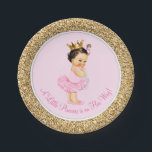 "Princess Ballerina Pink Gold Baby Shower Paper Plate<br><div class=""desc"">Ballerina princess tutu baby shower paper plates with adorable dark hair brunette princess baby girl wearing a tutu and string of pearls on a pink and gold background. These cute ballerina princess baby shower paper plates can be customized with text in the font style and color of your choice. You...</div>"