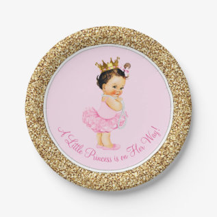 Princess Ballerina Pink Gold Baby Shower Paper Plate at Zazzle
