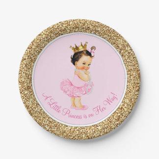 Princess Ballerina Pink Gold Baby Shower Paper Plate