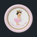 """Princess Ballerina Pink Gold Baby Shower Paper Plate<br><div class=""""desc"""">Ballerina princess tutu baby shower paper plates with adorable dark hair brunette princess baby girl wearing a tutu and string of pearls on a pink and gold background. These cute ballerina princess baby shower paper plates can be customized with text in the font style and color of your choice. You...</div>"""
