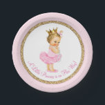 "Princess Ballerina Pink Gold Baby Shower Paper Plate<br><div class=""desc"">Ballerina princess tutu baby shower paper plates with adorable light hair blonde princess baby girl wearing a tutu and string of pearls on a pink and gold background. These cute ballerina princess baby shower paper plates can be customized with text in the font style and color of your choice. You...</div>"