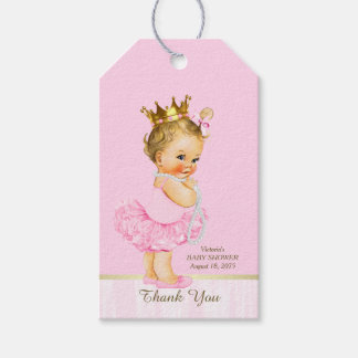 Princess Ballerina Pink Tutu Pearl Baby Shower Gift Tags