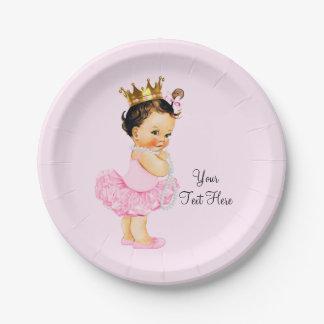Princess Ballerina Tutu Pearls Baby Shower Paper Plate