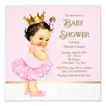 Princess Ballerina Tutu Pink Gold Baby Shower Card