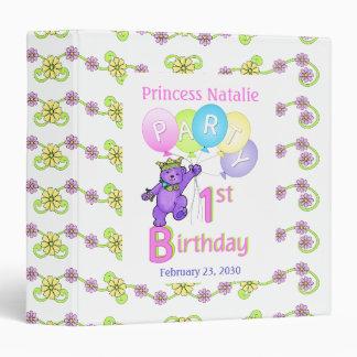 Princess Bear 1st Birthday Party Memories 1.5 inch Binder