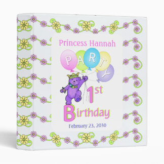 Princess Bear 1st Birthday Party Memories 1 inch Binder