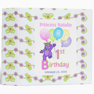 Princess Bear 1st Birthday Party Memories 2 Inch Binder