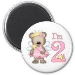 Princess Bear 2nd Birthday Magnets