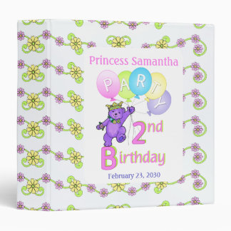 Princess Bear 2nd Birthday Party Memories 1.5 inch Binder