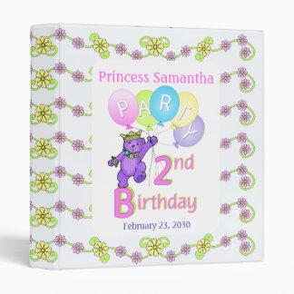 Princess Bear 2nd Birthday Party Memories 1 inch Binder