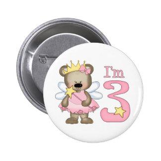Princess Bear 3rd Birthday Button