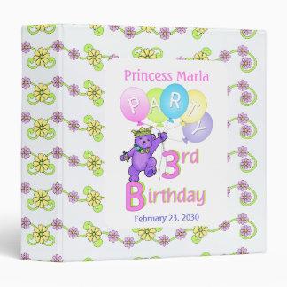 Princess Bear 3rd Birthday Party Memories 1.5 inch Binder
