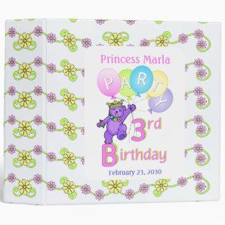 Princess Bear 3rd Birthday Party Memories 2 inch 3 Ring Binder