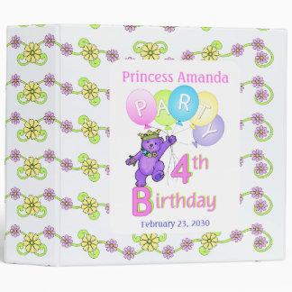 Princess Bear 4th Birthday Party Memories 2 inch Binder