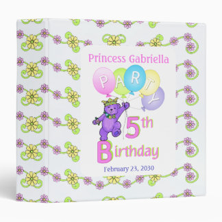 Princess Bear 5th Birthday Party Memories 1.5 inch 3 Ring Binder