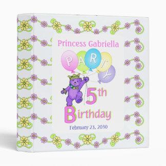 Princess Bear 5th Birthday Party Memories 1 inch Binder