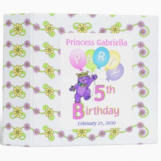 Princess Bear 5th Birthday Party Memories 2 inch 3 Ring Binder