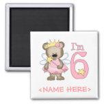 Princess Bear 6th Birthday Fridge Magnets