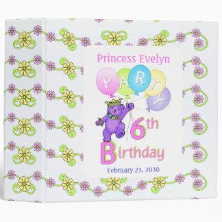 Princess Bear 6th Birthday Party Memories 2 inch Binder