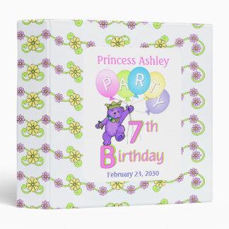 Princess Bear 7th Birthday Party Memories 1.5 inch Binder