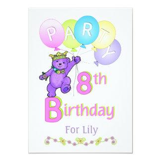 Princess Bear 8th Birthday Party Custom Name Card