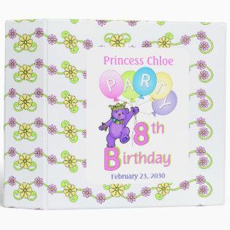 Princess Bear 8th Birthday Party Memories 2 inch 3 Ring Binder