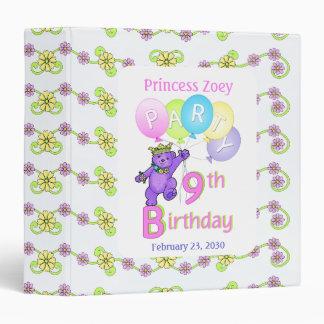 Princess Bear 9th Birthday Party Memories 1.5 inch Binder