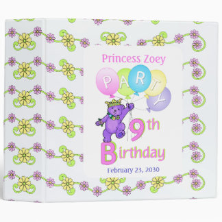 Princess Bear 9th Birthday Party Memories 2 inch Binder
