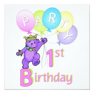Princess Bear Balloons 1st Birthday Party Card