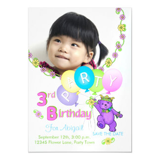 Princess Bear Custom 3rd Birthday Party Magnetic Invitations