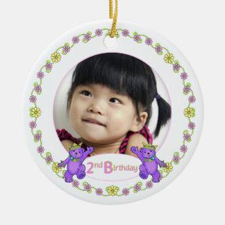 Princess Bears 2nd Birthday Photo Keepsake Double-Sided Ceramic Round Christmas Ornament