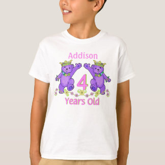 Princess Bears 4th Birthday Custom Name T-Shirt