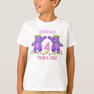 Princess Bears 4th Birthday Custom Name T-Shirt