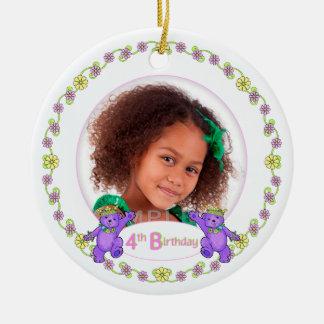 Princess Bears 4th Birthday Photo Keepsake Ceramic Ornament