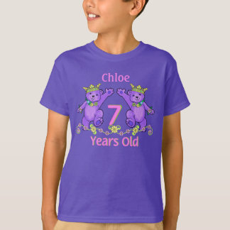 Princess Bears 7th Birthday Custom Name T-Shirt
