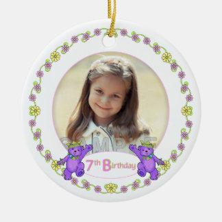 Princess Bears 7th Birthday Photo Keepsake Double-Sided Ceramic Round Christmas Ornament