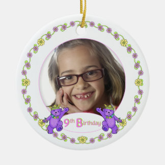 Princess Bears 9th Birthday Photo Keepsake Double-Sided Ceramic Round Christmas Ornament