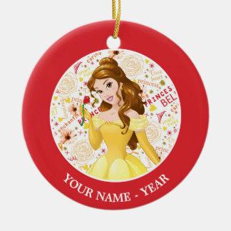 Princess Belle   Belle Holding Rose Add Your Name Ceramic Ornament