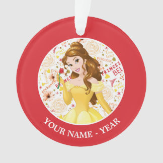Princess Belle   Belle Holding Rose Add Your Name Ornament