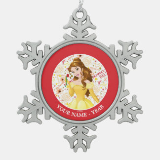 Princess Belle   Belle Holding Rose Add Your Name Snowflake Pewter Christmas Ornament