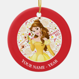 Princess Belle Double-Sided Ceramic Round Christmas Ornament